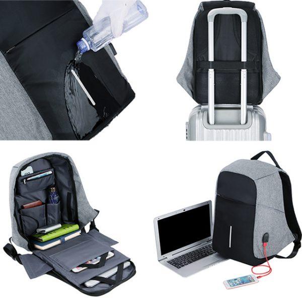 Men Anti theft Backpack USB Charging 15.6
